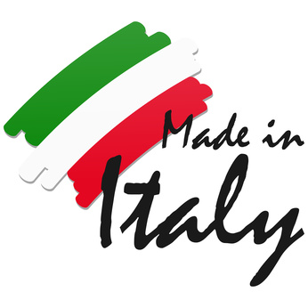 seal of quality with country flag and text Made in Italy