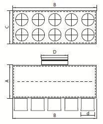 Distribuitor ventilatie liniar izolat 10xDN75 160mm KMF