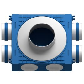 Distribuitor ventilatie BLUE 4×75 DN125 ABS triplu tratat