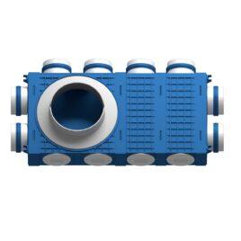 Distribuitor ventilatie BLUE 8×75 DN160 ABS triplu tratat extins