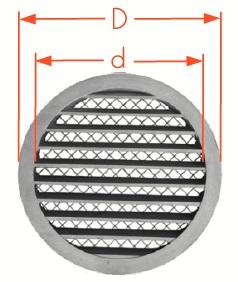 Grila aluminiu exterior cu plasa D160