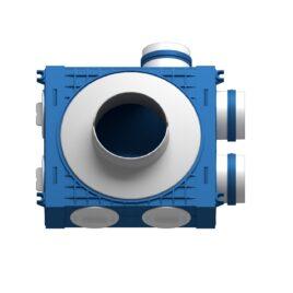 Plenum ventilatie BLUE 3×75 DN125 ABS triplu tratat